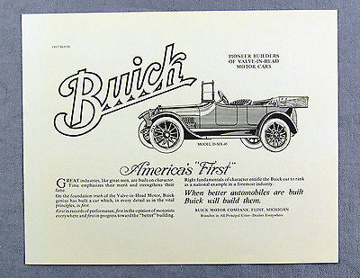 Vintage 1970's Buick 1917 Model D-SIX-45 Automobile Advertisement Print