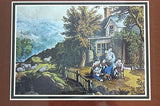 Vintage Currier and Ives The Mountaineer's Home Color Foil Etch Matted Print 3