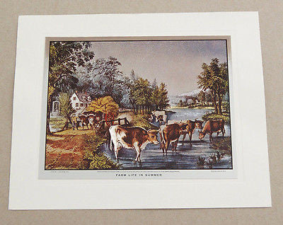 Vintage Currier and Ives Farm Life in Summer Color Foil Etch Print