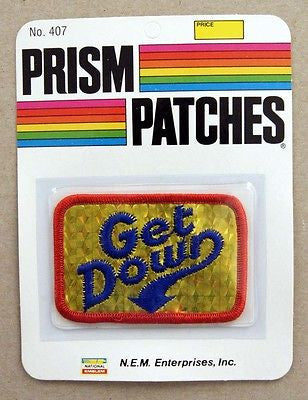 Vintage 1970's Get Down Reflective Prism Patch 2