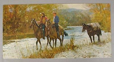 Vintage 1960's Donald Teague Packing In Cowboy Board Print Lithograph