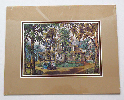 Vintage Currier and Ives A Home in the Country Color Foil Etch Matted Print 4
