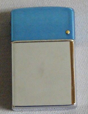 Vintage 1960's Brown and Bigelow Chrome and Blue Presidents Wind Master Lighter