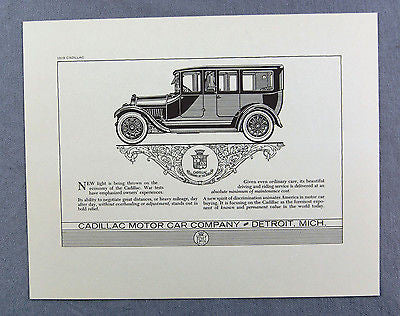 Vintage 1970's 1919 Cadillac Automobile Reproduction Advertisement Print