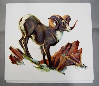 Vintage 1960's Fred Sweney Stone Sheep Big Horn Sheep Vacuum Form Print