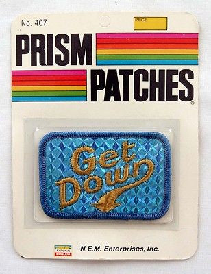 Vintage 1970's Get Down Reflective Prism Patch