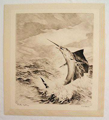 Vintage 1940's R.H. Palenske Really Fighting Marlin Sailfish Fishing Print