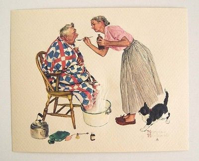 Vintage Norman Rockwell Spring Tonic The Tender Years Embossed Print 1
