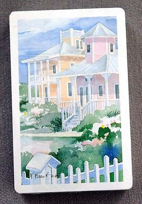 Vintage Paul Brent Beach Houses Scene Playing Cards