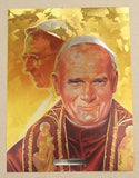 Vintage Their Holinesses Pope John Paul I and Pope John Paul II Foil Etch Print
