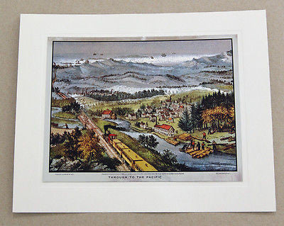 Vintage 1970's Currier and Ives Through To The Pacific Color Foil Etch Print