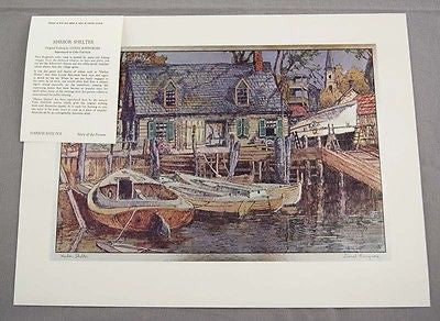 Vintage 1970's Lionel Barrymore Harbor Shelter Color Foil Etch Print