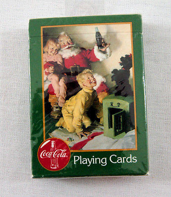 1996 Coca Cola Coke Santa Claus Christmas Green Poker Playing Cards