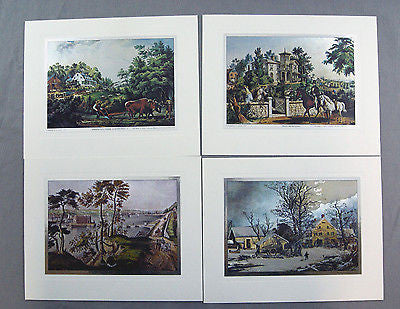 Vintage Currier and Ives Nostalgic America Color Foil Etch Print Set 243-120