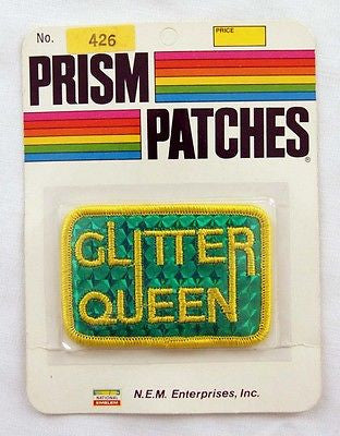 Vintage 1970's Glitter Queen Reflective Prism Patch