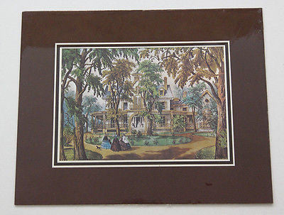 Vintage Currier and Ives A Home in the Country Color Foil Etch Matted Print 2
