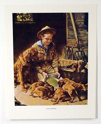 Vintage 1960's Norman Rockwell Good Friends Boy Scout Print