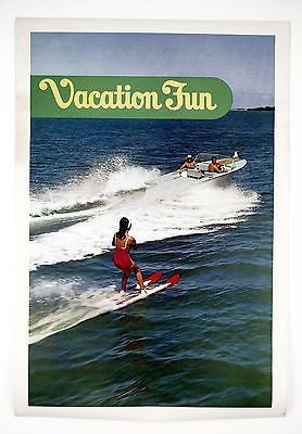 Vintage 1960's Vacation Fun Water Skiing Poster