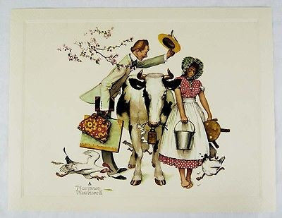 Vintage 1970's Norman Rockwell The Traveling Salesman Embossed Print 1