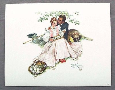 Vintage 1970's Norman Rockwell Flowers in Tender Bloom Four Seasons Print 2