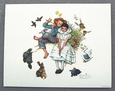 Vintage 1970's Norman Rockwell Sweet Song So Young Four Seasons Series Print 2