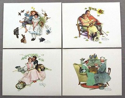 Vintage Norman Rockwell Four Seasons Series Four Ages Of Love Print Set 2