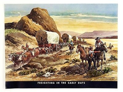 Vintage 1960's Lloyd Harting Freighting in the Early Days Wagon Train Print