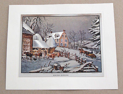 Vintage Currier and Ives Winter Morning Color Foil Etch Print