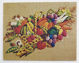 Vintage 1970's Country Harvest Stitchery Embossed Two Print Set