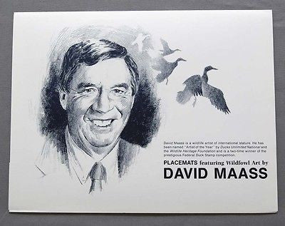 Vintage 1990 David Maass Wildfowl Art Place Mat Set 240-170