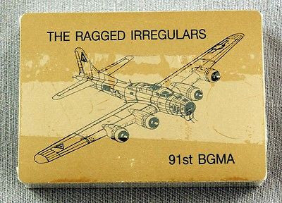 WWII The Ragged Irregulars 91st Bomb Group B-17 Bomber Gold Poker Playing Cards