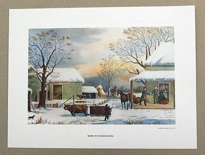 Vintage 1970's Currier and Ives Home To Thanksgiving Print