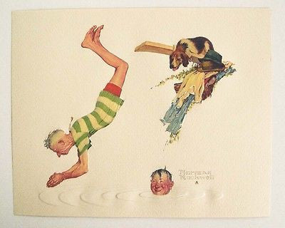 Vintage 1970's Norman Rockwell Cooling Off Old Sports Series Embossed Print 1