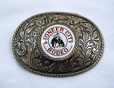 Vintage 1984 Pioneer City Rodeo Belt Buckle