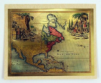 Vintage 1970's 18th Century Map of the Americas Color Foil Etch Print