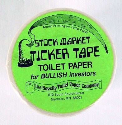 Vintage 1980's Stock Market Ticker Tape Novelty Toilet Paper
