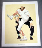 Vintage 1972 Norman Rockwell Low and Inside Baseball Print