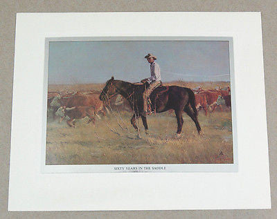 Vintage 1970's Tom Ryan Sixty Years In The Saddle Color Foil Etch Print