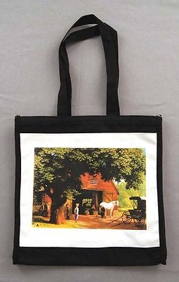 Vintage 1980's Famous Artists Paul Detlefsen Horse and Buggy Days Tote Bag