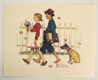 Vintage 1970's Norman Rockwell A Scholarly Pace Young Love Series Print 1