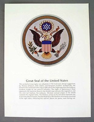 Vintage 1970's Great Seal of the United States Foil Etch Print