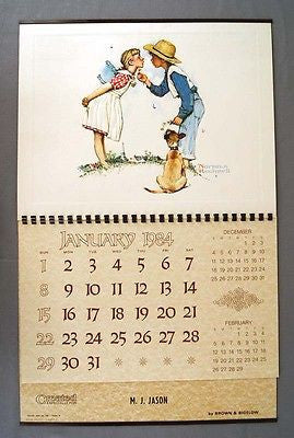Vintage 1984 Norman Rockwell Beguiling Buttercup Embossed Calendar