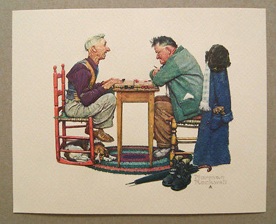 Vintage 1970's Norman Rockwell Last Move Old Sports Series Embossed Print 2