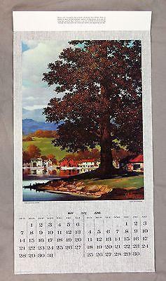Vintage 1972 Ted Withers Peaceful Cove Canvas Calendar Print