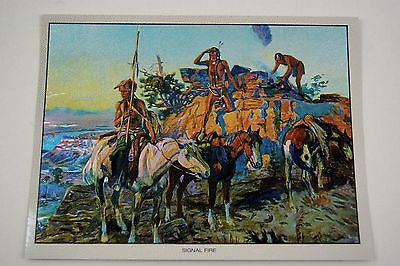 Vintage 1970's Charles M. Russell Signal Fire Color Foil Etch Print