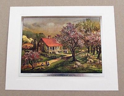 Vintage Currier and Ives American Homestead Spring Color Foil Etch Print