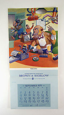 Vintage 1979 Lawson Wood Monkeys The Big Wheel Calendar Print