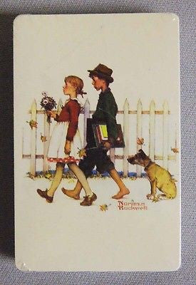 Vintage 1970's Norman Rockwell A Scholarly Pace Trump Brand Playing Cards