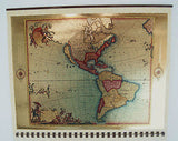 Vintage 1985 2019 18th Century North and South America Foil Etch Map Calendar