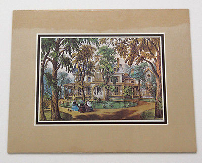 Vintage Currier and Ives A Home in the Country Color Foil Etch Matted Print 5